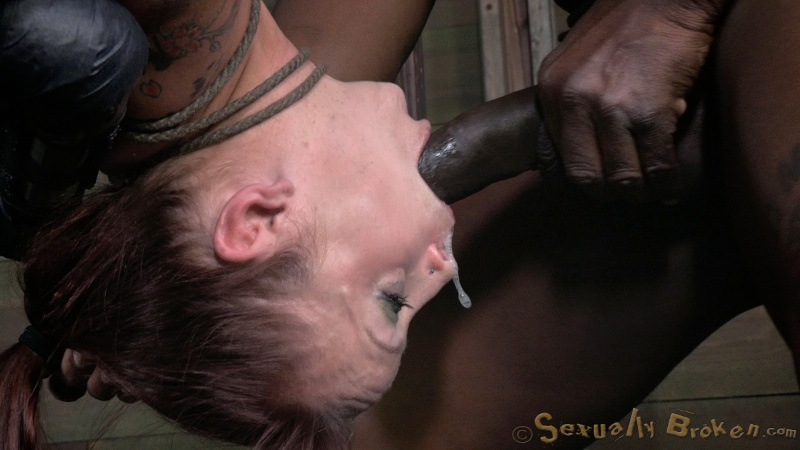 Brutal tit bondage and face-fucking in the basement